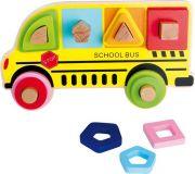 Small Foot Dřevěná hračka třídící hra školní autobus