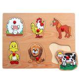 Dřevěné hračky - Vkládací puzzle Vkládačka Domácí zvířata D