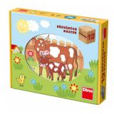 Dino Dřevěné obrázkové kostky domácí zvířátka 12ks