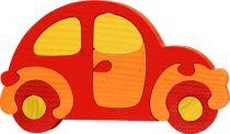 Dřevěné vkládací puzzle z masivu auto červené brouk