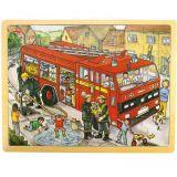 Dřevěné hračky Bigjigs Toys Dřevěné puzzle hasiči 24 dílků