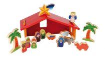 Dřevěné hračky -  Dětský dřevěný barevný betlém