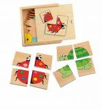 Dřevěné hračky -  Mini puzzle Beruška v dř. krab