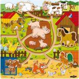 Dřevěné hračky - Posouvací zvířátka na statku Mašinka