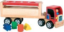 Dřevěné hračky Dřevěný nákladní kamion s vhazováním tvarů Santoys