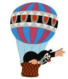 Dřevěné hračky DoDo Velká dřevěná dekorace Krtek v balónu