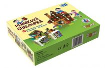 Dřevěné obrázkové kostky kubusy - Perníková chaloupka 12 ks
