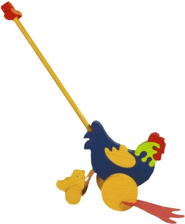 Dřevěné hračky Dřevěné tahací hračky plácačka - Slepička s kuřátkem Fauna