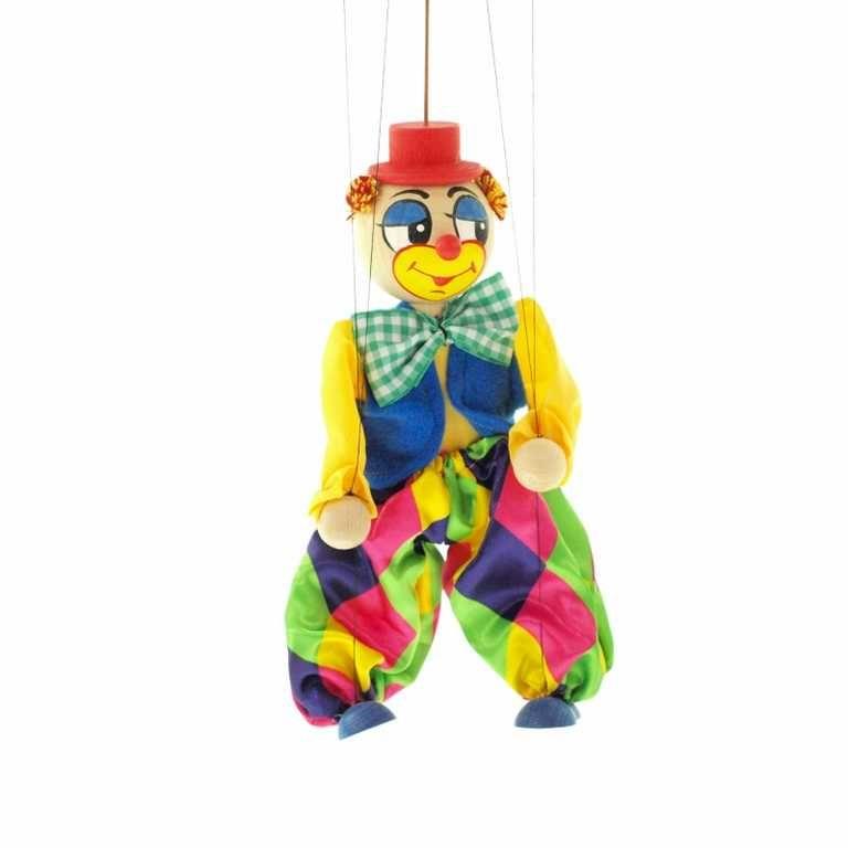 Dřevěné hračky Dřevěné velké loutky - Klaun Česká dřevěná hračka