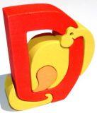 Dřevěné vkládací puzzle - Abeceda písmenko D dinosaurus