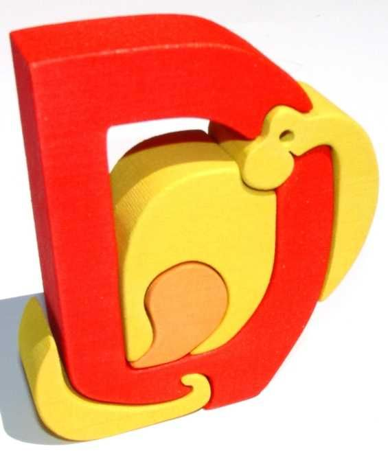Dřevěné hračky Dřevěné vkládací puzzle - Abeceda písmenko D dinosaurus Fauna