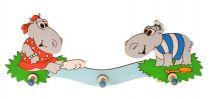 Dřevěné hračky DoDo Dřevěný 3 věšáček hroši