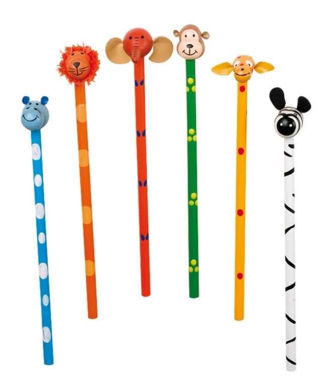 Dřevěné hračky Small Foot Sada dřevěných tužek postaviček Safari 6ks Small foot by Legler