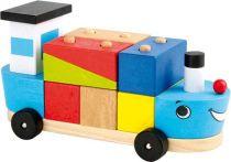 Small Foot Dřevěná motorická hra loď se stavebními kostky