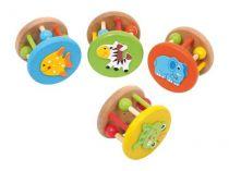 Dřevěné hračky pro nejmenší - Chrastítka -  Hrkadlo zvířátka