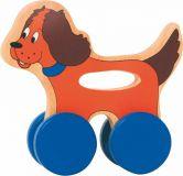 Dřevěné hračky Woody - Pejsek na kolečkách s držadlem