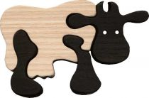 Fauna Dřevěné vkládací puzzle z masivu kráva černá