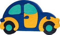 Fauna Dřevěné vkládací puzzle z masivu auto modré brouk