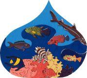 Fauna Dřevěné vkládací puzzle z masivu vodní svět Rudé moře