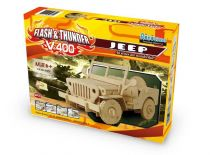 Dřevěné hračky RoboTime - Stavebnice RC Jeep na dálkové ovládání - V400
