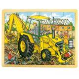 Dřevěné hračky Bigjigs Toys Dřevěné puzzle bagr 24 dílků
