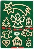 Dřevěné dekorace - Mix vánočních ozdob na podložce  velká