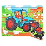 Dřevěné hračky Bigjigs Toys Dřevěné puzzle traktor 9 dílků