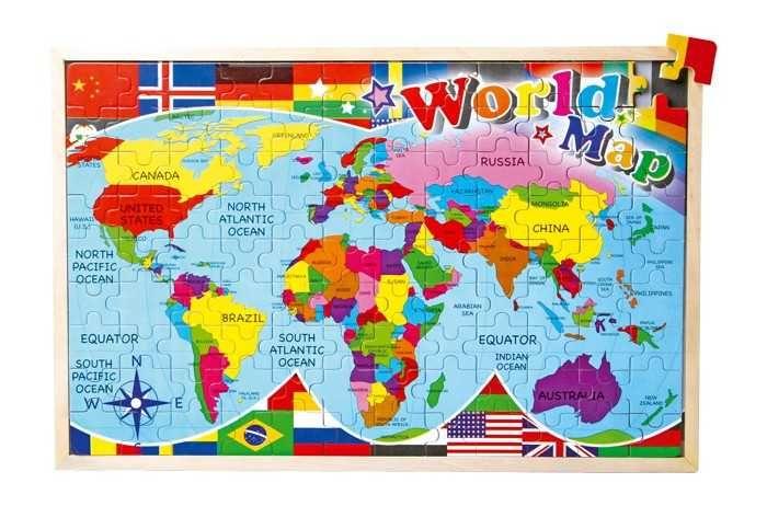 Dřevěné hračky Small Foot Vkládací puzzle Puzzle mapa světa Small foot by Legler