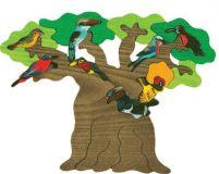Fauna Dřevěné vkládací puzzle z masivu Afričtí ptáci