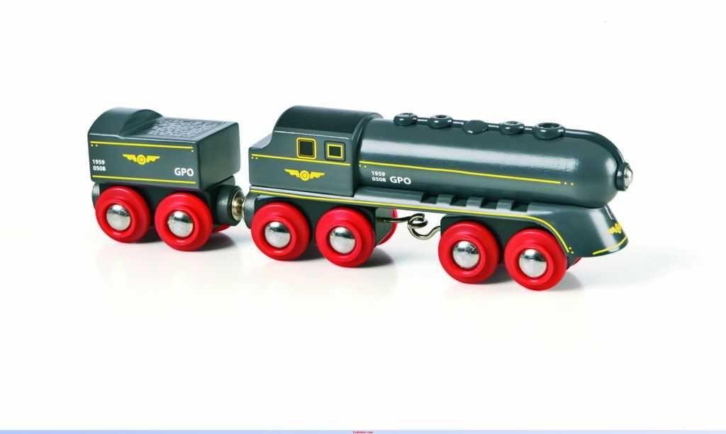 Dřevěné hračky Vláček vláčkodráhy - Rychlý šedý vlak s vagonem Brio