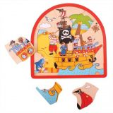 Dřevěné hračky Bigjigs Toys Dřevěné vícevrstvé puzzle Pirátská loď