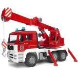 Bruder - Nákladní auto MAN - jeřáb požární + maják + zvuk
