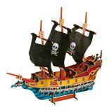 Dřevěné 3D puzzle lodě - dřevěná skládačka - Pirátská loď