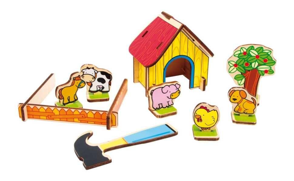 Dřevěné hračky Small Foot Dřevěná farma 3D puzzle Small foot by Legler