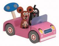 Dřevěné hračky Detoa Dřevěné auto růžové - Krtek na výletě