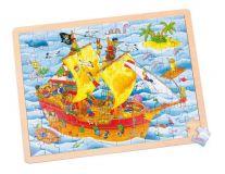 Dřevěné hračky -  Puzzle Pirátská loď