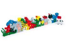 Small Foot Dřevěné hračky zvířata s písmeny a číslicemi