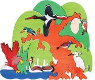 Fauna Dřevěné vkládací puzzle z masivu vodni ptáci