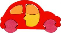 Dřevěné vkládací puzzle z masivu - Malé auto červené