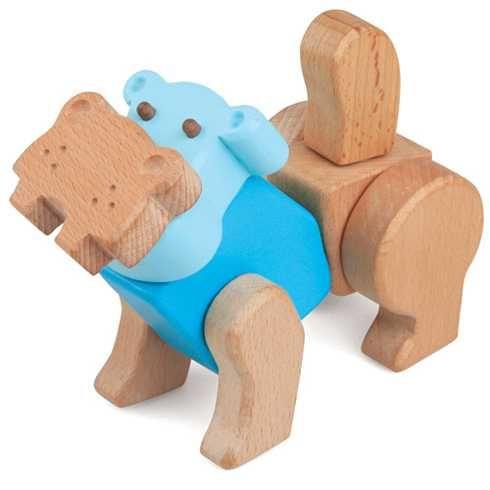 Dřevěné hračky Kreativní stavební sada - Hravá stavebnice Moje ZOO - Hroch My Zoo