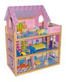 Velký dřevěný růžový domeček pro panenky