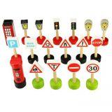 Dřevěné hračky Bigjigs Rail Dřevěné autodráhy sada dopravních značek
