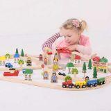 Dřevěné hračky Bigjigs Rail Dřevěná vláčkodráha město a vesnice 101 dílů