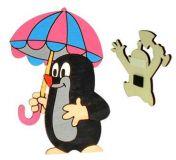 Dřevěné hračky DoDo Dřevěná dekorační magnetka Krtek s deštníkem