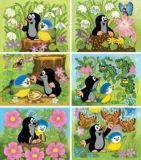 Dřevěné hračky Dino Dřevěné obrázkové kostky Krtek a ptáček 12 ks