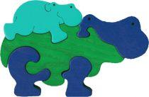 Dřevěné vkládací puzzle z masivu - vkládačka - Hroch modrý