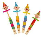 Small Foot Dětská dřevěná píšťalka s klaunem a vrtulkou
