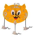 Dřevěné hračky DoDo Dětské dřevěné hodiny kočka s myškami