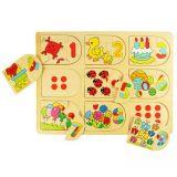 Dřevěné hračky Bigjigs Toys Obrázkové počítací puzzle