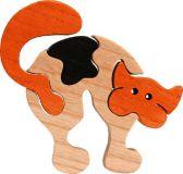 Fauna Dřevěné vkládací puzzle z masivu malá kočka